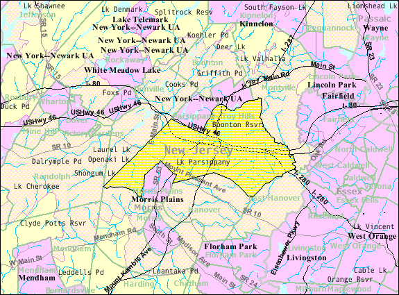 Parsippany, Troy Hills NJ Census Map